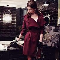 2017 nieuwe herfst fashion grote kraagvorm riem taille lange solid trenchcoat voor vrouwen