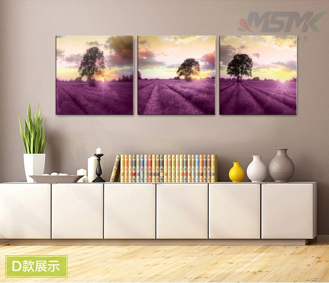 Provence lavender painting flowers 3 parts vintage home decor wall ...