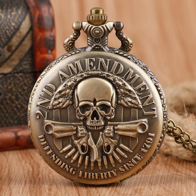 Cool Vintage 2ND Amendment Defending Since 1971 Vintage Pocket Watch Necklace Pendant Chain for Men Boy