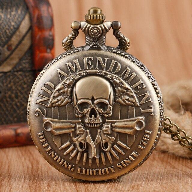 Cool Vintage 2ND Amendment Defending Since 1971 Vintage Pocket Watch Necklace Pe