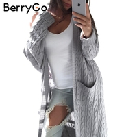 BerryGo Long Sleeve Knitted Cardigan Female Knitting Long Cardigan Sweater Women Jumper White Pocket Pull Knit