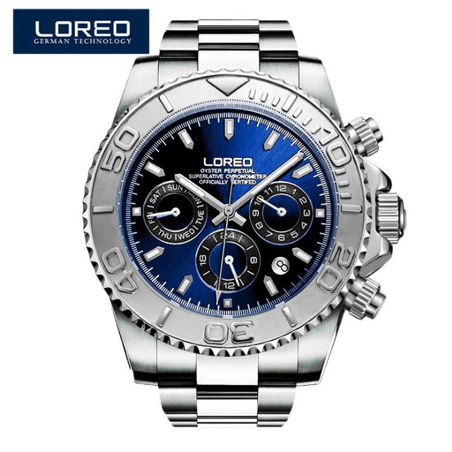 LOREO Men Watches Auto Date Sapphire Watch Sports Stainless Steel Strongest Luminous Waterproof 200m Diver Mechanical Wristwatch(China)