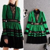 New dress Collar sleeve spell velvet lace pressure plait he waist dress is female