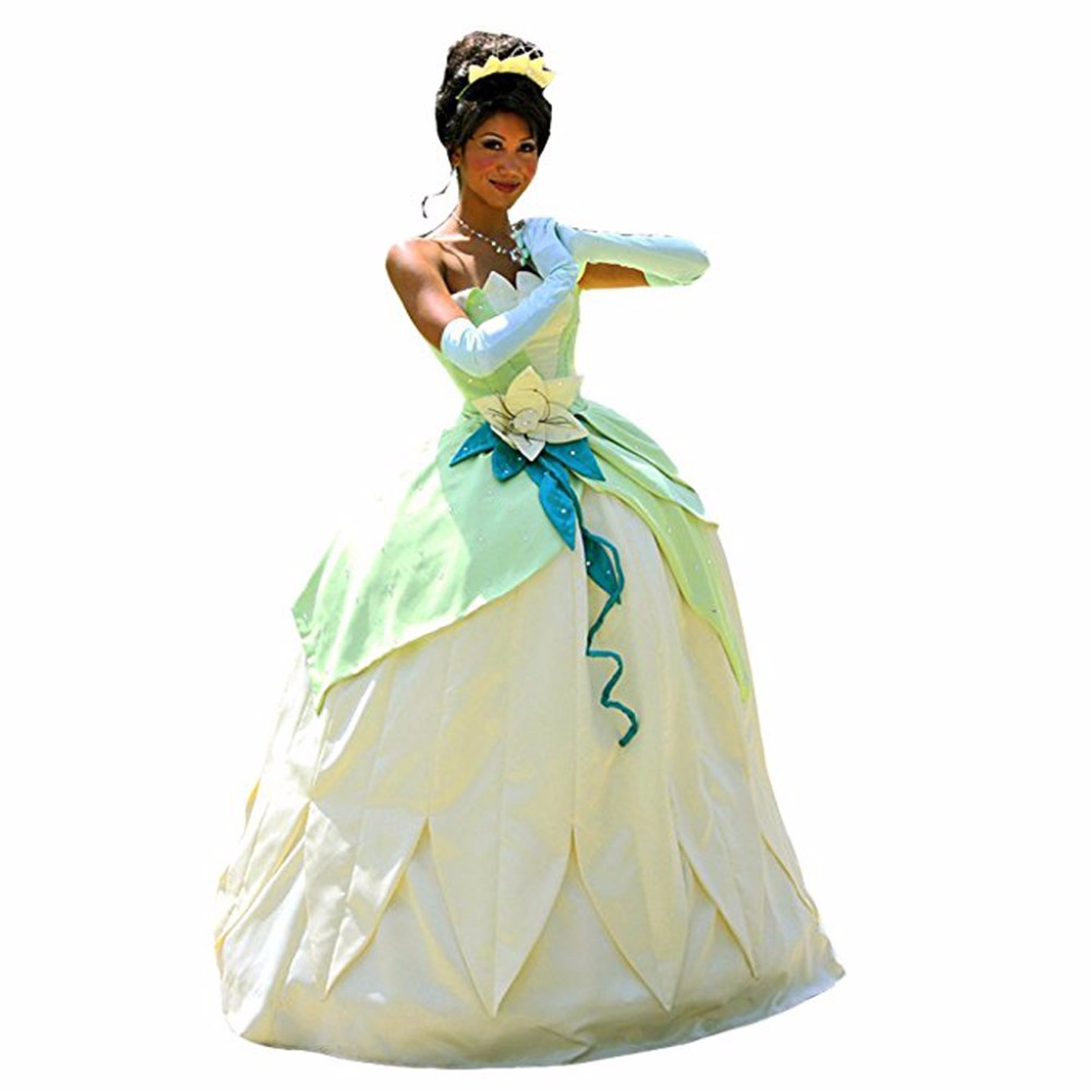 Princess tiana dress costume the frog princess cosplay - Barbie en princesse ...