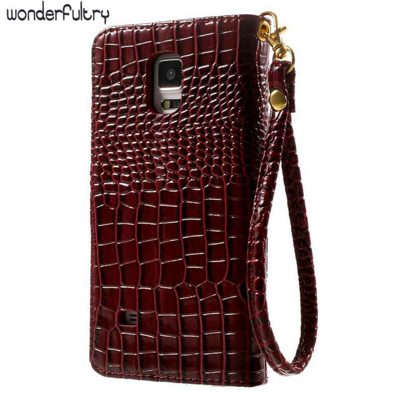 Wonderfultry For Samsung Note4 Cases Crocodile Leather Wallet Stand Case for Samsung Galaxy Note 4 N910 S7 j1 j5 A3 A5 A7 2017