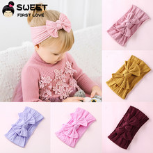 1 Pc Big Bow Fasce, Cable Knit Largo Headwraps Morbido Hairwear Ornamento di Natale Accessori per Capelli per Le Ragazze Bambini Turbante(China)