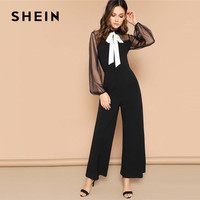 SHEIN Contrast Tie Neck Dot Mesh Sleeve Wide Leg Lace Jumpsuit Women Spring Mid Waist Bishop Sleeve Black Elegant Sexy Jumpsuit