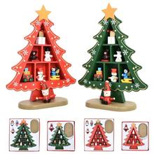 wooden christmas trees mini table xmas tree home office desktop figurines miniature ornament home decoration festive - Cheap Christmas Trees Online