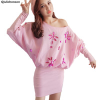 Qiukichonson Autumn Winter Women Mini Dress Cute Slash Neck Batwing Sleeve Heavy Beading Hip Package Off