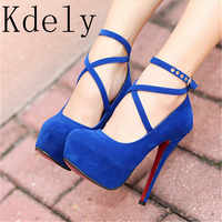 Shoes Woman Pumps Cross-tied Ankle Strap Wedding Party Shoes Platform dress Women Shoes High Heels Suede ladies shoes Big 42