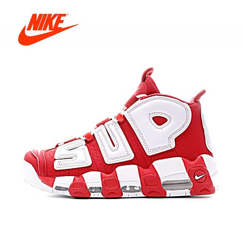 Оригинальный Новое поступление Аутентичные Supreme x Nike Air более Uptempo Мужская баскетбольная обувь спортивные кроссовки хорошего качества 902290 600