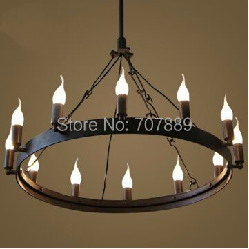 Vintage Style Candle Chandelier American Country Dining Room Lamp Wrought Iron Lights Home Decoration Hanging Lighting In Pendant From