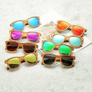 Image 5 - AN whale − lunettes De soleil 100% en bois De zèbre, polarisées, faites à la main, en bambou, monture solaire pour hommes, Gafas Oculos De Sol Mader