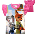 New 2016 Girl T Shirt Cartoon Rabbit Print Zootopia T Shirt Short Sleeve Cotton Kids Clothes Lovely Casual Children T-Shirt