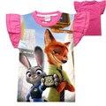 Novo 2016 Camiseta Menina Dos Desenhos Animados Impressão Coelho Zootopia T Shirt Crianças Roupas Lindas Crianças Casuais T-Shirt de Algodão de Manga Curta