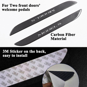 Image 3 - 2pcs/set Styling Carbon Fiber Car Front Door Sill Welcome Pedal Decoration Sticker Protector Cover Accessories for Tesla Model S