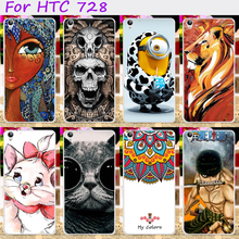 Hard Plastic Cool Skull Cute Minions Flower Phone Cases For HTC Desire 728 728G Dual Sim