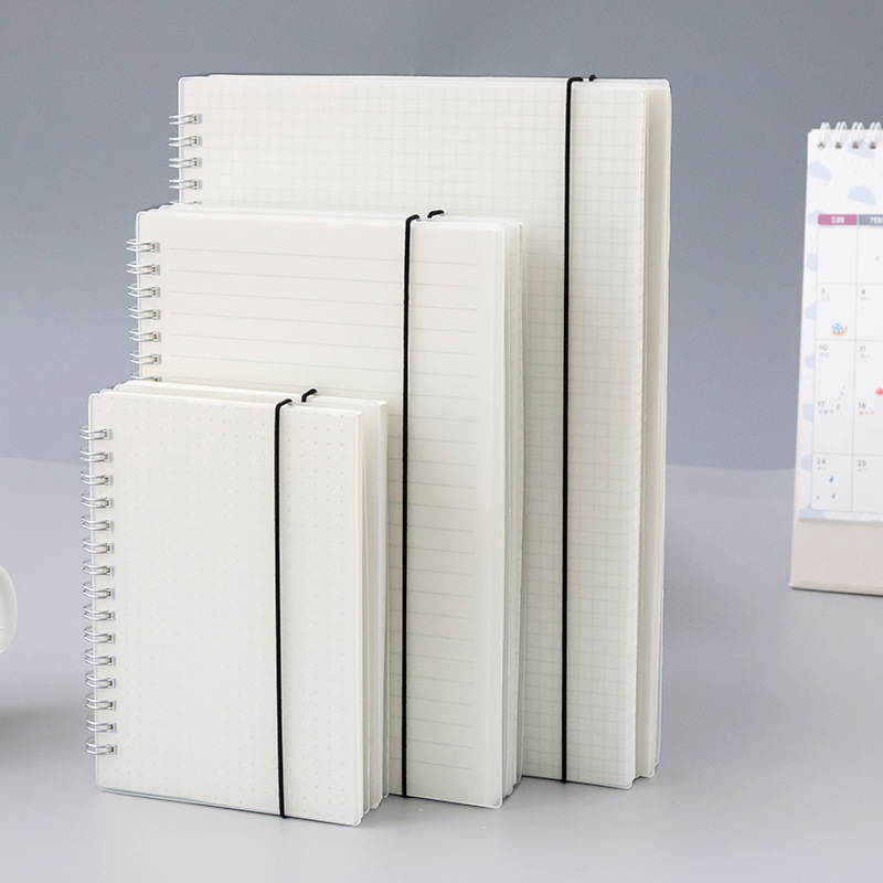 A5/A6/B5 Coil Loose-leaf Blank Sketchbook for Drawing Frosted Transparent Stripe Grid PP Notebook Business Planner Office School