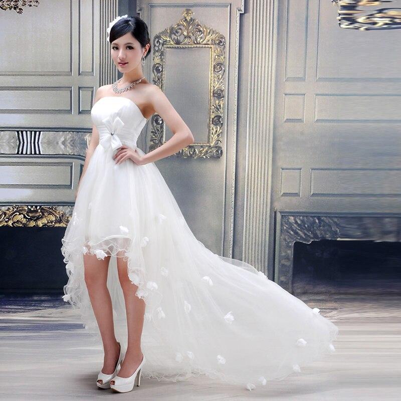 Blanco trasero largo delantero corto Vestido De boda De Tulle ...