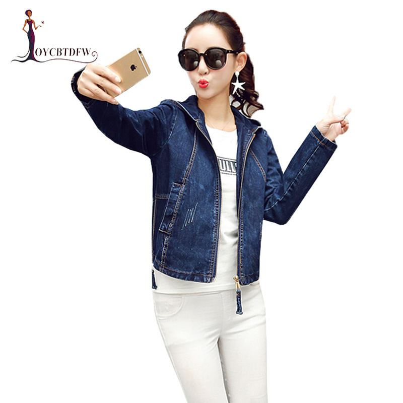 Pilot Denim   Jacket   Women   Basic     Jacket   Coat Hooded Outwear Slim Short Warm Overcoats Denim Female Coats &   Jackets   Tops No302