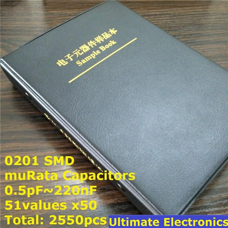 0201 Japan muRata GRM033 series SMD Capacitor Sample book Assorted Kit 51valuesx50pcs=2550pcs (0.5pF to 220nF)