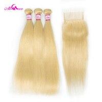 Али Коко бразильский прямые светлые волосы 613 Связки с закрытием 10 28 дюймов бесплатная часть Реми натуральные волосы Связки с закрытием