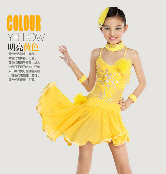 110-160cm black yellow set fashion rumba latin cha-cha dance dress tango samba Stage performance professional girl child costume