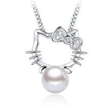 Colgante chapado de plata Shambhala cristal super brillante de piedra joyería con imitación de perla joya de ágata collar de la moda de Hello Kitty sin collar