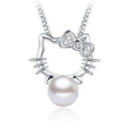 NEHZY 925 sterling silver new Jewelry Zircon Shambhala Super Flash crystal pearl stone pendant fashion kitten No necklace
