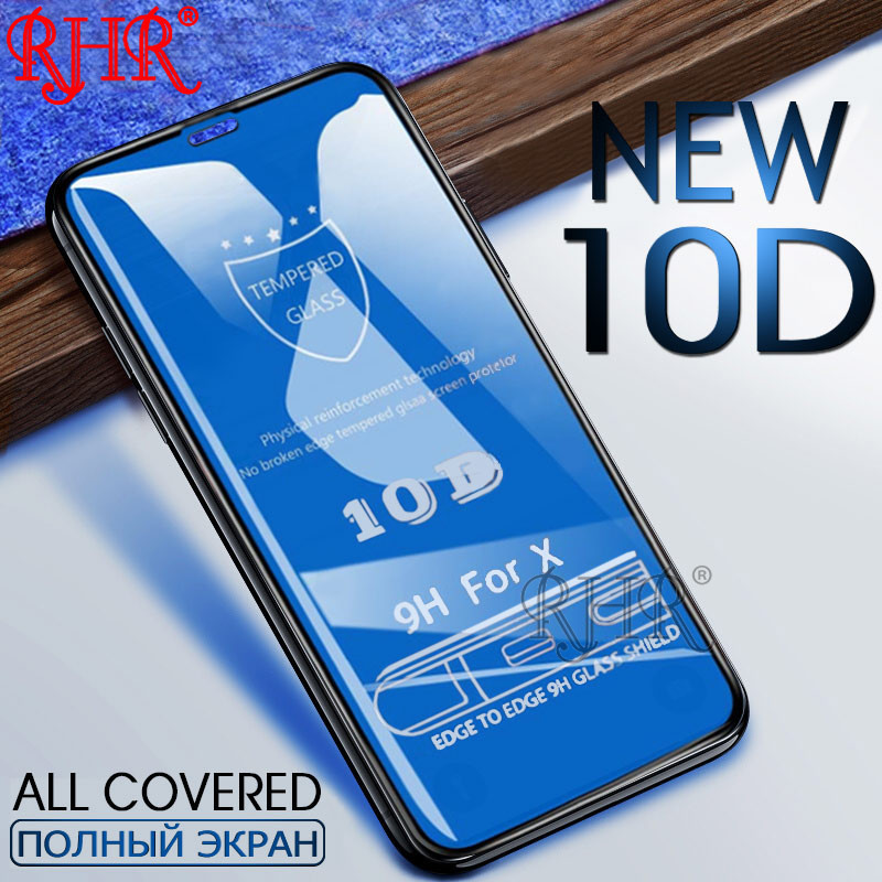 שומרי משפט 10D מסך מגן זכוכית עבור iPhone 7 6 6 s 8 בתוספת מלא כיסוי מגן מזג זכוכית על עבור iPhone X XR XS מקס סרט