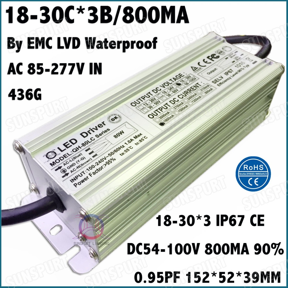 2 Pcs By EMC LVD IP67 80W AC85-277V LED Driver 18-30Cx3B 800mA DC56-100V Constant Current LED Power For Spotlights Free Shipping