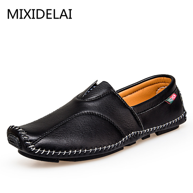 Brand 2017 New Fashion Casual Shoes Men Slip-on Leather Breathable Light  Flat Summer Gentleman Casual Shoes Comfortable Wear 5529f37a4