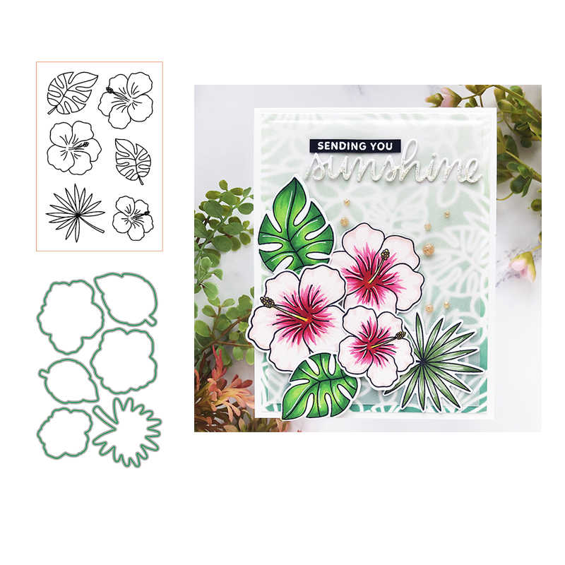 Hibiscus flower Clear Stamp and Metal Cutting Dies for DIY Die Scrapbooking photo album Card Making Decoration Supplies 2019