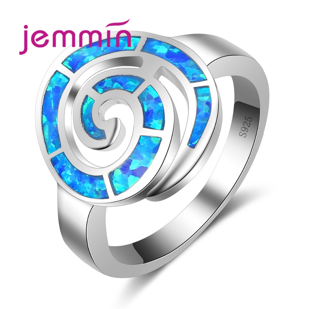 Fashion Round Blue Opal Ring For Women Fashion Wedding 925 Sterling Silver Engagement Jewelry Rings