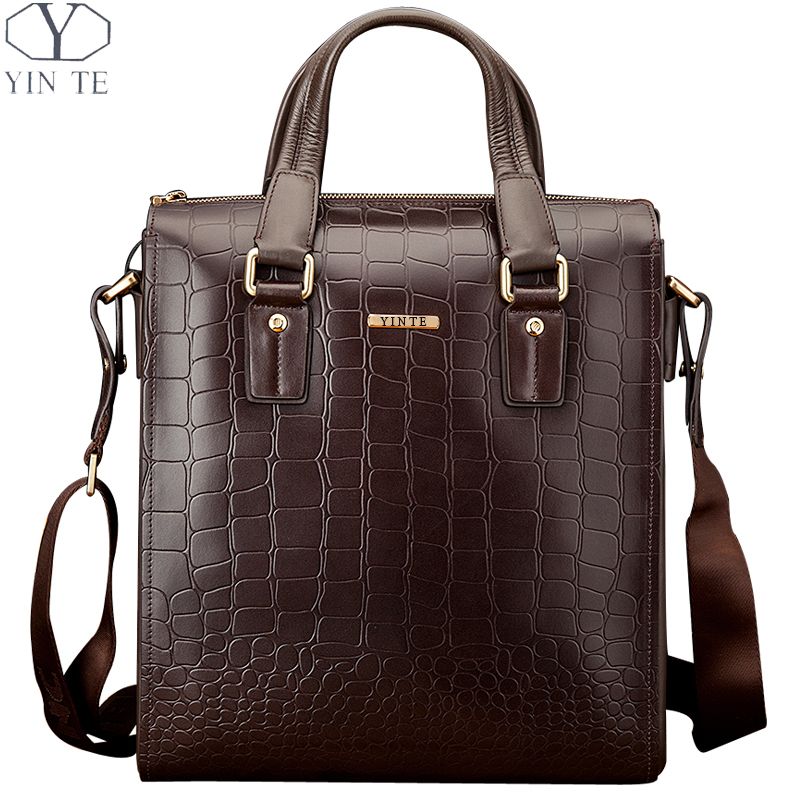YINTE Fashion Men's Briefcase Leather Men Messenger Bag Shoulder Bag Handbag Men Totes Brown Crocodile Prints Totes T8245-3 yinte leather men s briefcase black bag fashion business messenger totes laptop bag ostrich prints men s portfolio t8518 6