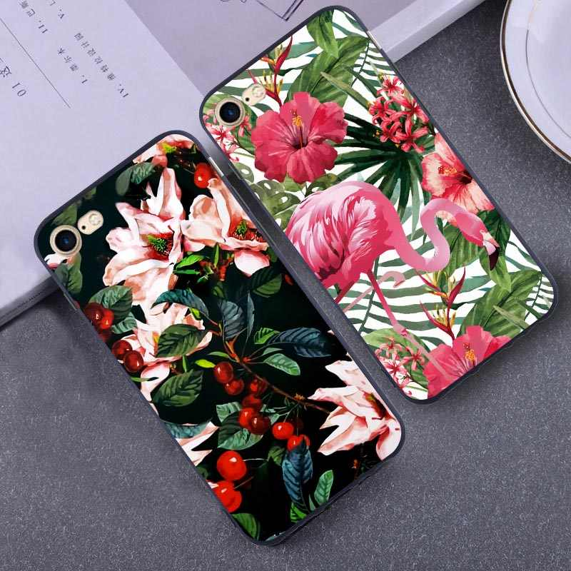 Case For Iphone Xs Max XR 7 8 Plus X 5 5s SE 6 6s Plus Beautiful Flower Cat Fish Love Heart Marble Stripe Soft Case Covers Funda