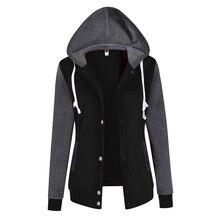2017 новые модные женские туфли кофты Худи с длинным рукавом с капюшоном Бейсбол куртка с капюшоном Для женщин кофты Плюс Размеры WS952R