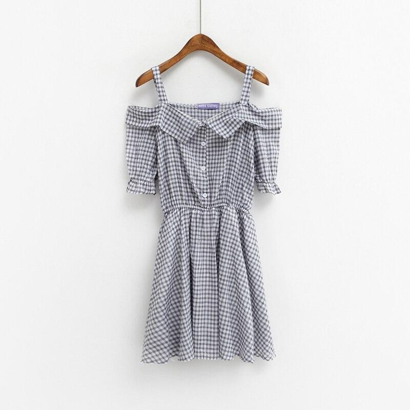 67ef869870d4 women dress harajuku plus size korean summer dress 2016 new sweet plaid  dresses women flouncing clothing cute rock sexy dress-in Dresses from  Women s ...