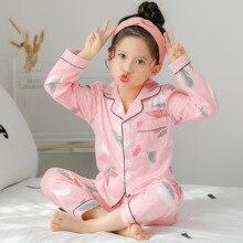 Купить с кэшбэком 2018 Autumn Spring Children Pajamas Long Sleeve Cotton Kids sleepwear Suit Lovely Girl cute Home Cloth baby christmas pajamas