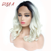 Dula A Ombre Brown Body Wave Lace Front Synthetic Hair Wigs Long Wavy Free Part Pink Blue Cosplay Wig African Hair Wigs