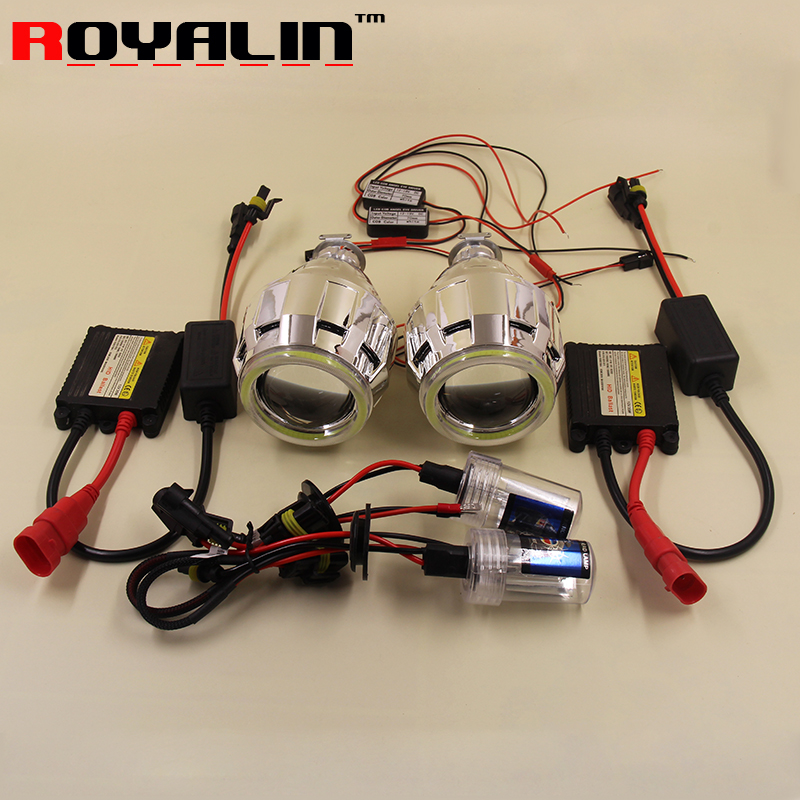 royalin led drl double angel eyes halo rings mini projector lens bi xenon h1 headlight shrouds white red h4 h7 auto lamps diy ROYALIN Car Styling Bi-Xenon H1 Headligts Projector Lens Full Kit LHD RHD 70mm Angel Eyes Rings for H1 H4 H7 Auto Lamps DIY