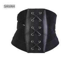 Nouvelles femmes à la mode rétro bandage bandage ultra large corset noir  élastique ceinture ceinture du ventre da25a932bbd