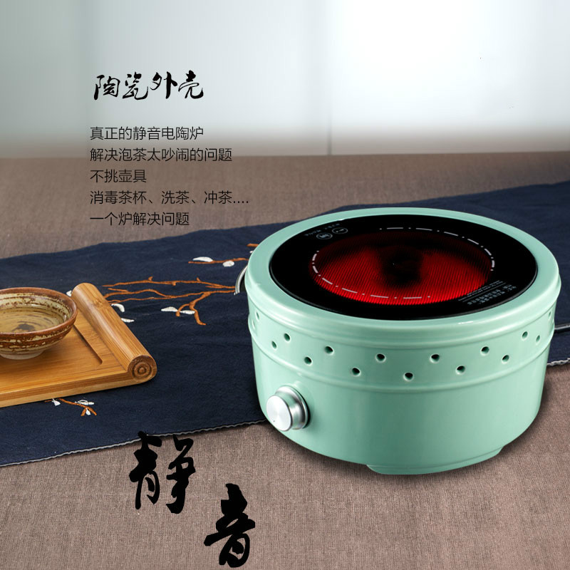 Hot Plates Mini silent electric ceramic furnace tea stove household glass bubble pot boiling equipment non - electromagn NEW electric pottery furnace tea pot 4 file mute mini knob control tea hot water boiler black microlite panel stove boiling machine