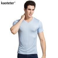100 Real Silk Man S T Shirts Short Sleeve V Neck Man Wild Black White Solid