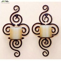 Metal Candlestick Iron Pastoral Hanging Wall Sconce Candle Holders Pillar Iron Black Europe For Christmas Decoration
