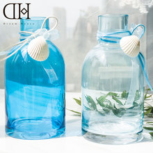 DH blue sea style Glass Vase flower bottle shell garden decoration accessories glass vase flower bottle