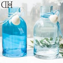 DH blue sea style Glass Vase flower bottle shell garden decoration accessories glass vase flower bottle marriage vase