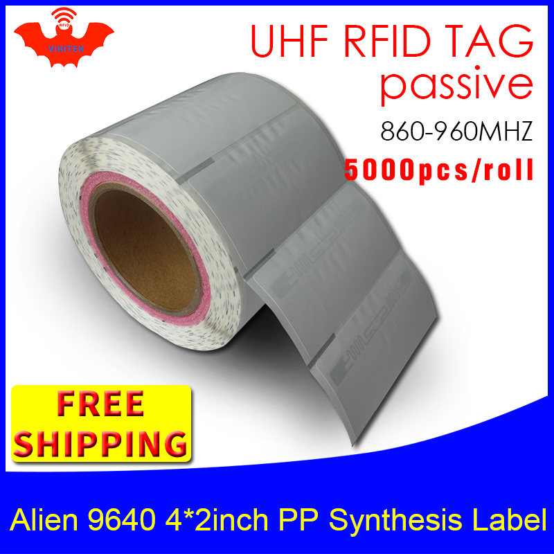 UHF RFID Tag Sticker Alien 9640 PP Synthetic Label EPC6C 915mhz868mhz Higgs3 5000pcs Free Shipping Adhesive Passive RFID Label