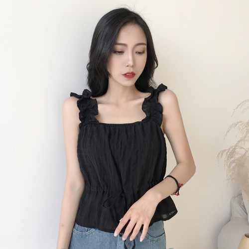 Summer Women Fashion Shirt Ruffles Fashion Shirt Strap Ruffle Off shoulder Solid Color OL Chiffon Tshirt
