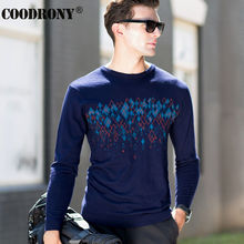 High Quality Autumn Winter Knitted Cashmere Sweaters 100% Merino Wool Sweater Men Fashion Navy Pattern O-Neck Pullover Male 6335